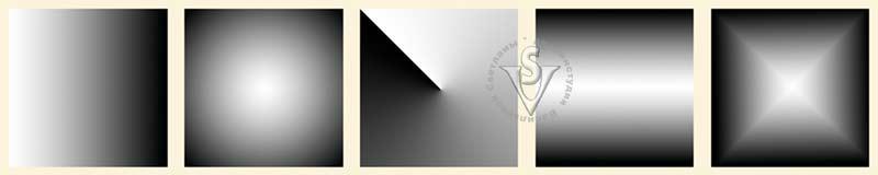 Linear (Линейный), Radial (Радиальный), Angular (Угловой), Reflected (Отраженный), Diamond (Ромбовидный).