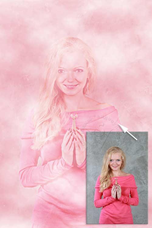 девушка в розовом тумане
