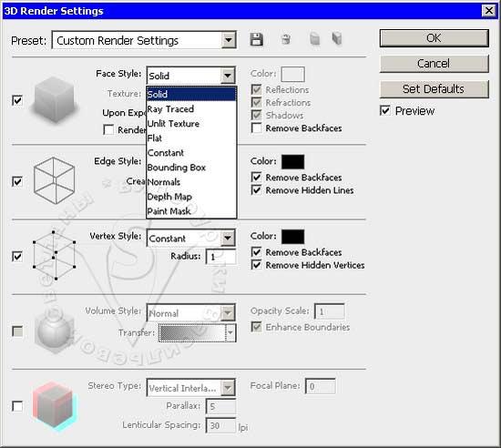 3D render settings